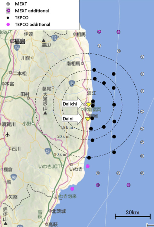 Locations of TEPCO and MEXT Seawater Sampling Positions (27 April 2011)