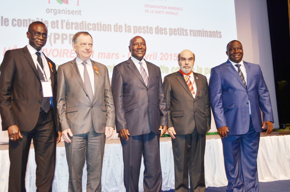 Award presentation by Côte d'Ivoire for FAO/IAEA work on PPR