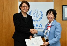 The new Resident Representative of Finland to the IAEA, HE Ms Pirkko HÄMÄLÄINEN, presented her credentials to Mary Alice Hayward, IAEA Acting Director General, and Head of the Department of Management at the IAEA headquarters in Vienna, Austria, on 9 January 2019.