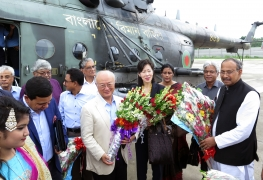 IAEA Director General Yukiya Amano receives a warm welcome by Hon'ble Minister for Science and Technology Arch. Yeafesh Osman (far right) during his official visit to Bangladesh on 3 July 2017.