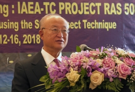 IAEA Director General Yukiya Amano delivers remarks at the opening of the First Meeting of the IAEA's regional project on 'Managing and Controlling Aedes Vector Populations using the Sterile Insect Technique', during his official visit to Bangkok, Thailand. 11 February 2018