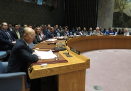 "IAEA Director General Yukiya Amano briefs the Security Council in the debate on ""Supporting the Non-proliferation Treaty ahead of the 2020 Review Conference"" during his official visit to United Nations New York. 2 April 2019."