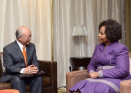 IAEA Director General Yukiya Amano met with Maite Nkoana-Mashabane, Minister of International Relations and Cooperation of South Africa during his official visit to Pretoria, South Africa. 10 May 2016