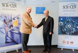 IAEA Director General Yukiya Amano with Derrick Philippe Boduin Gosselin, Executive Chairman of the Belgian Nuclear Research Centre SCK-CEN, at the inauguration of SCK-CEN as as International Centre based on Research Reactors (ICERR), during his official visit to Belgium. 21 March 2018