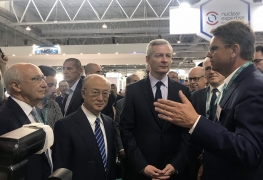 IAEA Director General Yukiya Amano with Bruno Le Maire, French Minister of Economy and Finance at the World Nuclear Exhibition in Paris, France. 26 June 2018