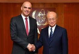 <br> IAEA Director General Yukiya Amano met with H.E. Mr. Alain Berset, President of the Swiss Confederation, at the IAEA headquarters in Vienna, Austria on 8 January 2018. </br> <br> Alain Berset et Yukiya Amano </br> <br> Le Directeur général de l'AIEA Yukiya Amano a rencontré S. E. M. Alain Berset, président de la Confédération suisse, au siège de l'AIEA, à Vienne (Autriche), le 8 janvier 2018. </br>