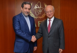 IAEA Director General Yukiya Amano met with Abbas Araghchi, Iranian Vice Minister for Legal and International Affairs, at the IAEA headquarters in Vienna, Austria on 10 January 2017.