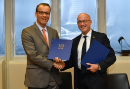 Cornel Feruta, IAEA Acting Director General and Carlos Rodriguez Galindo, MD, Executive Vice-President, Chair Global Pediatric Medicine, sign a Practical Arrangements document between the International Atomic Energy Agency and the St. Jude Children's Research Hospital on Cooperation in the Area of Comprehensive Cancer Control at the Agency headquarters in Vienna, Austria on 18 October 2019