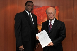 Presentation of credentials of the new Resident Representative of Namibia, Ambassador Raphael Nakare Dinyand, to IAEA Director General Yukiya Amano. IAEA, Vienna, Austria, 12 January 2011