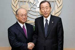 UN Secretary-General Ban Ki-moon (right) met  IAEA Director General Yukiya Amano at the United Nations headquarters in New York, 8 January 2010. (Photo: P. Fligueiras/UN)