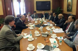 IAEA Director General Yukiya Amano met with Dr. Ratan Kumar Sinha, Chairman of the Atomic Energy Commission of India, during his official visit to Mumbai, India. 11 March 2013