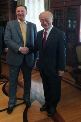 IAEA Director General Yukiya Amano meeting with Mr. Sergey Ivanov, Head of Administration of the President of the Russian Federation, during the Director General's official visit to Moscow, Russia. 17 May 2013