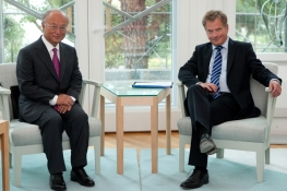 IAEA Director General Yukiya Amano met H.E.  Mr. Sauli Niinisto, President of the Republic of Finland, during his official visit on 22 August 2012, Mantyniemi, Finland. 2012.