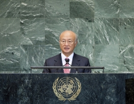 IAEA Director General Yukiya Amano delivers his statement at the UN Secretary General's High-Level Meeting on Countering Nuclear Terrorism. United Nations New York, 28 September 2012. Photo Credit: UN New York