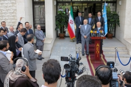IAEA Director General Yukiya Amano at a press conference with Dr Ali Akbar Salehi, Vice President and Chairman of the Atomic Energy Organization of Iran during his official visit to the Islamic Republic of Iran. 17 August 2014.