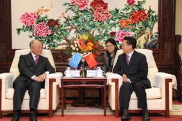 IAEA Director General Yukiya Amano met Chen Qiufa, Chairman of the China Atomic Energy Authority at the CAEA's headquarters, Beijing, China, 21 October 2011.