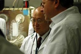 IAEA Director General Yukiya Amano in the plutonium laboratory, Safeguards Analytical Laboratories, Seibersdorf, Austria.