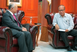 IAEA Director General Yukiya Amano meets with H.E. Prof Gusti Muhammad Hatta, Minister for Research, Technology and Higher Education, during his official visit to Indonesia. 22 January 2015