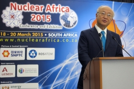 IAEA Director General Yukiya Amano delivers his opening address at the Nuclear Africa 2015 Conference and Exhibition  during his official visit to South Africa on 18 March 2015.