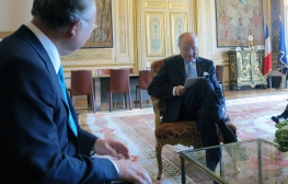 IAEA Director General Yukiya Amano met with Laurent Fabius, Minister of Foreign Affairs and International Development, during his official visit to Paris, France on 26 May 2015.