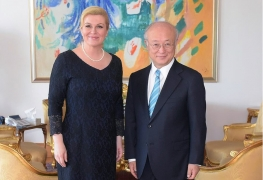 IAEA Director General Yukiya Amano met with President Kolinda Grabar-Kitarović, during his official visit to Zagreb, Croatia on 18 May 2015.