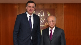 IAEA Director General Yukiya Amano meets H.E. Mr Ilir Beqaj, Minister of Health of Albania at the IAEA Headquarters in Vienna, Austria. 3 February 2015.