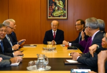 Director General Yukiya Amano returned to the office today and chaired a meeting with Senior Staff.