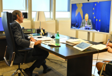 Rafael Mariano Grossi, IAEA Director General, spoke with Stefan Löfven, Prime Minister of Sweden during a video conference at the Agency headquarters in Vienna, Austria. 21 August 2020