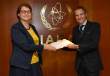 HE Ms. Pirkko Hämäläinen, Resident Representative of Finland to the IAEA, presented to Rafael Mariano Grossi, IAEA Director General, a pledge letter of financial support to the Marie Sklodowska-Curie Fellowship Programme during his official visit at the Agency headquarters in Vienna, Austria, on 2 November 2020.
