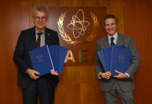 Rafael Mariano Grossi, IAEA Director General and HE Mr Gerhard Küntzle, Resident Representative of Germany to the IAEA, met as they signed three agreements on voluntary extra-budgetary financial contributions. Germany's contributions will support activities in the field of nuclear verification, nuclear security and the implementation of the Marie Sklodowska-Curie Fellowship Programme. IAEA Vienna, Austria. 14 December 2020.