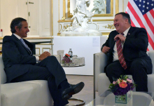 Rafael Mariano Grossi, IAEA Director General, met with Mike Pompeo, United States Secretary of State during an official meeting held at the Belvedere Palace in Vienna, Austria. 14 August 2020