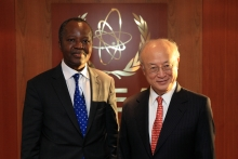 IAEA Director General Yukiya Amano met with Eloi Laourou, Ambassador, Resident Representative of Benin to the IAEA  at the Agency headquarters in Vienna, Austria. 9 November 2016