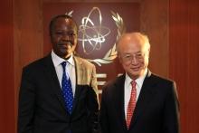 The new Resident Representative of Benin, Eloi Laourou, presented his credentials to IAEA Director General Yukiya Amano in Vienna, Austria, on 9 November 2016.