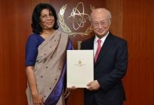 The new Resident Representative of Sri Lanka, Priyanee Wijesekera, presented her credentials to IAEA Director General Yukiya Amano in Vienna, Austria on 12 April 2016.