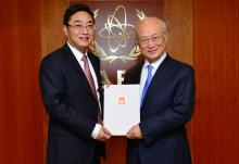 The new Resident Representative of China, Shi Zhongjun, presented his credentials to IAEA Director General Yukiya Amano in Vienna, Austria, on 4 May 2016.