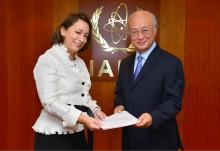 The new Resident Representative of Mexico, Alicia Guadalupe Buenrostro Massieu, presented her credentials to IAEA Director General Yukiya Amano in Vienna, Austria, on 30 May 2016.  Photo Credit: Dean Calma / IAEA
