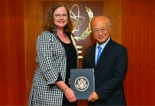 The new Resident Representative of the United States of America, Laura Holgate, presented her credentials to IAEA Director General Yukiya Amano in Vienna, Austria, on 13 July 2016.