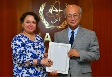 The new Resident Representative of Algeria, Faouzia Boumaiza Mebarki, presented her credentials to IAEA Director General Yukiya Amano in Vienna, Austria, on 21 July 2016.