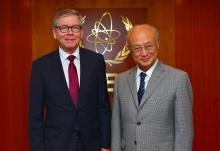 The new Resident Representative of Finland, Hannu Kyröläinen, presented his credentials to IAEA Director General Yukiya Amano in Vienna, Austria, on 7 September 2016.