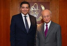 The new Resident Representative of Egypt, Omar Amer Youssef, meets with IAEA Director General Yukiya Amano in Vienna, Austria, on 9 September 2016.