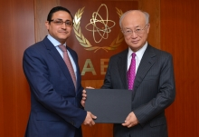 The new Resident Representative of Yemen, Haytham Shoja'aadin, presented his credentials to IAEA Director General Yukiya Amano at the IAEA headquarters in Vienna, Austria on 16 January 2017.