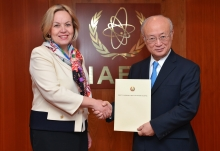 The new Resident Representative of Belarus, Alena Kupchyna, presented her credentials to IAEA Director General Yukiya Amano at the IAEA headquarters in Vienna, Austria on 18 January 2017.