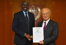 Ambassador Francois Xavier Ngarambe, Resident Representative of Rwanda to the IAEA, presented his credentials to IAEA Director General Yukiya Amano at the IAEA headquarters in Vienna, Austria on 12 May 2017