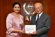 The new Resident Representative of the Dominican Republic, Lourdes Victoria-Kruse, presented her credentials to IAEA Director General Yukiya Amano at the IAEA headquarters in Vienna, Austria on 20 July 2017.