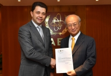 The new Resident Representative of Moldova, Victor Osipov, presented his credentials to IAEA Director General Yukiya Amano at the IAEA headquarters in Vienna, Austria on 21 July 2017