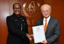 The new Resident Representative of Botswana to the IAEA, Athaliah Lesiba Molokomme, presented her credentials to IAEA Director General Yukiya Amano at the IAEA headquarters in Vienna, Austria, on 15 September 2017.