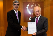 The new Resident Representative of Tajikistan to the IAEA, Idibek Kalandar, presented his credentials to IAEA Director General Yukiya Amano at the IAEA headquarters in Vienna, Austria, on 11 October 2017.