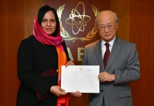The new Resident Representative of Afghanistan to the IAEA, Khojesta Fana Ebrahimkhel, presented her credentials to IAEA Director General Yukiya Amano at the IAEA headquarters  in Vienna, Austria, on 20 November 2017.