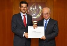 The new Resident Representative of Lebanon to the IAEA, Ibrahim Assaf, presented his credentials to IAEA Director General Yukiya Amano at the IAEA headquarters  in Vienna, Austria, on 21 November 2017.  Photo Credit: Dean Calma / IAEA