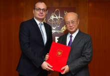 The new Resident Representative of Albania to the IAEA, Igli Hasani, presented his credentials to IAEA Director General Yukiya Amano at the IAEA headquarters in Vienna, Austria, on 23 February 2018.